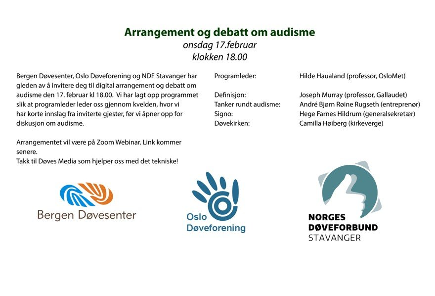 Digital arrangement og debatt om audisme 17. februar kl 18