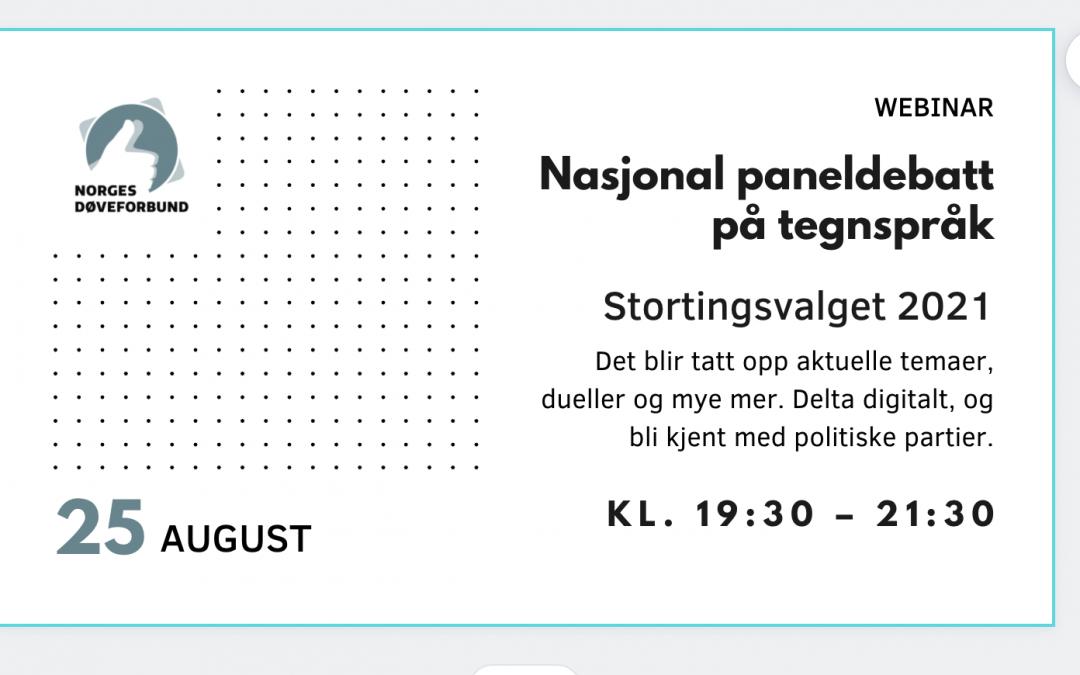 Nasjonal paneldebatt på tegnspråk 25. august 2021